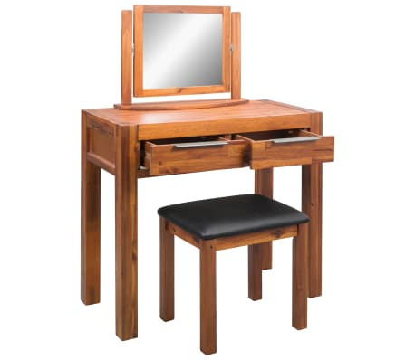 vidaXL Dressing Table with Stool and Mirror Solid Acacia Wood[4/8]