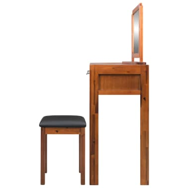 vidaXL Dressing Table with Stool and Mirror Solid Acacia Wood[3/8]