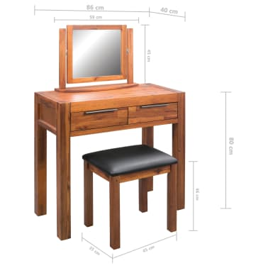 vidaXL Dressing Table with Stool and Mirror Solid Acacia Wood[8/8]