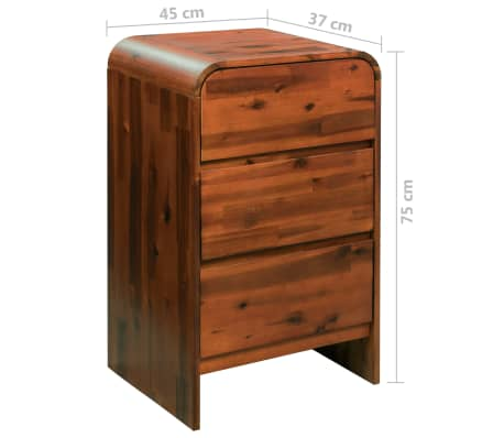 "vidaXL Chest of Drawers Solid Acacia Wood 17.7""x14.5""x29.5""[8/8]"