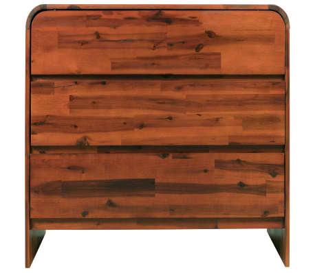 vidaXL Komoda su stalčiais, akacijos medienos masyvas, 90x37x75cm[3/7]