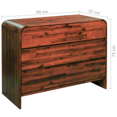 vidaXL Komoda su stalčiais, akacijos medienos masyvas, 90x37x75cm[7/7]