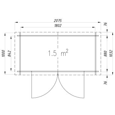 vidaXL Tuinhuis 2x1 m 19 mm hout[9/9]