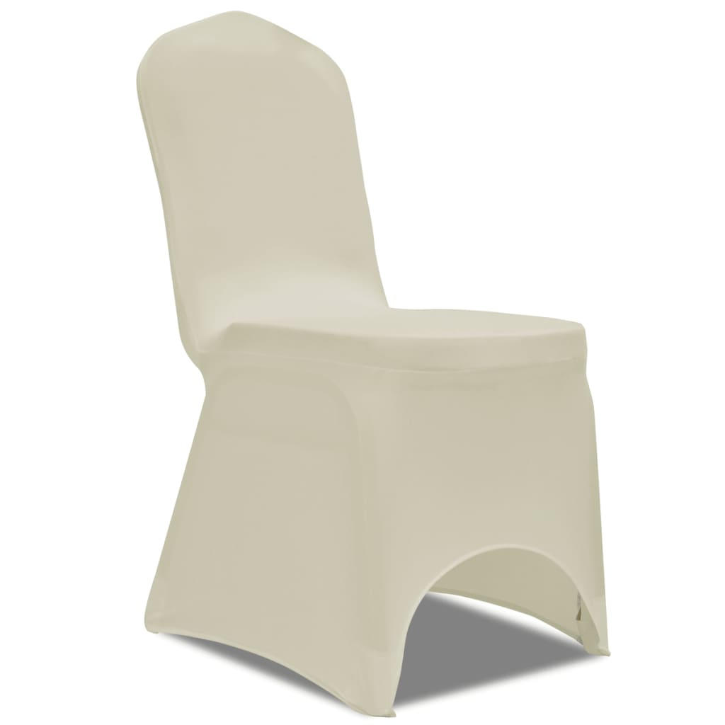 Image of vidaXL 100 pcs Stretch Chair Covers Cream