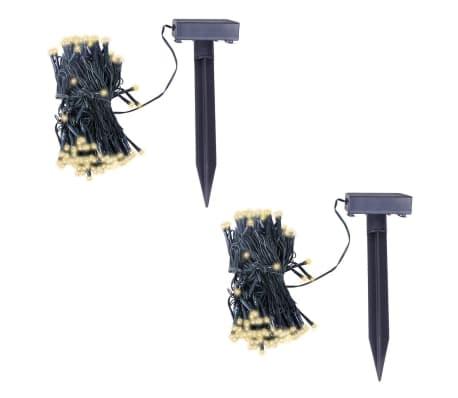 vidaXL LED lampiņu virtene ar saules paneli, 2 gb., silti balta gaisma