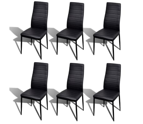 Incredible Vidaxl Slim Line Dining Chairs 6 Pcs Artificial Leather Black Gmtry Best Dining Table And Chair Ideas Images Gmtryco
