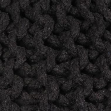 vidaXL Rankomis megztas pufas, medvilnė, 50x35cm, juodas[2/2]
