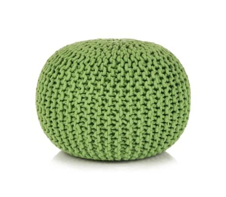 vidaXL Håndstrikket puff bomull 50x35 cm grønn