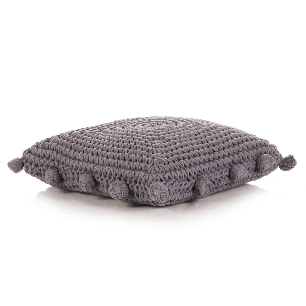 vidaXL Pernă de podea tricotată, gri, 50 x 50 cm, bumbac, pătrat poza 2021 vidaXL