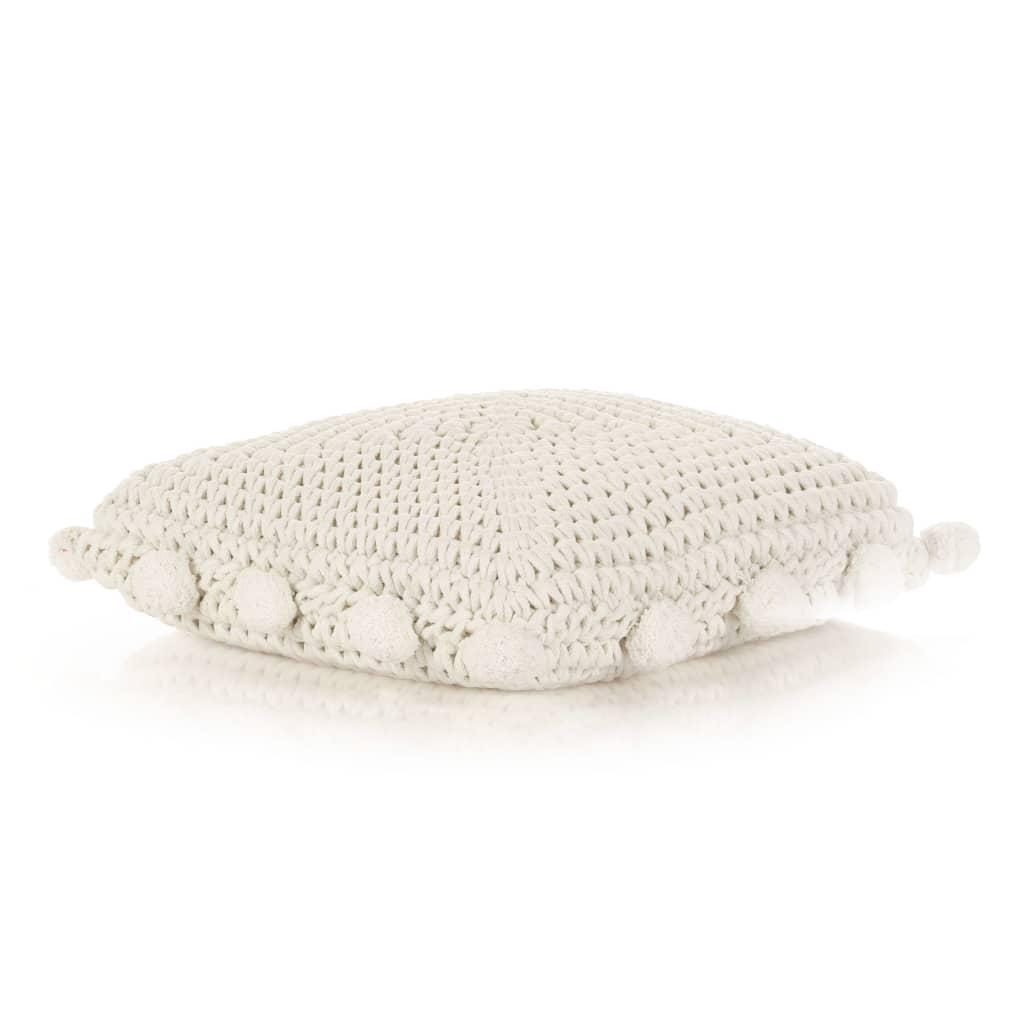 vidaXL Pernă de podea tricotată, alb, 50 x 50 cm, bumbac, pătrat poza 2021 vidaXL