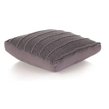 vidaXL Coussin de plancher carré Coton tricoté 60 x 60 cm Gris[1/4]