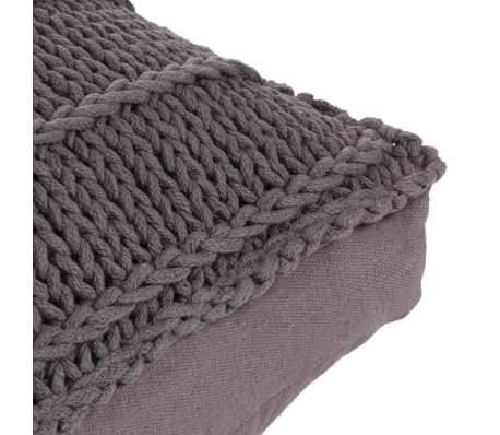 vidaXL Coussin de plancher carré Coton tricoté 60 x 60 cm Gris[4/4]