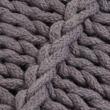 vidaXL Coussin de plancher carré Coton tricoté 60 x 60 cm Gris[3/4]