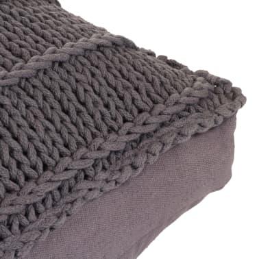 vidaXL Bodensitzkissen Quadratisch Gestrickt Baumwolle 60 x 60 cm Grau[4/4]
