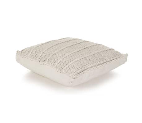 vidaXL Cojín cuadrado de suelo algodón tejido 60x60 cm blanco