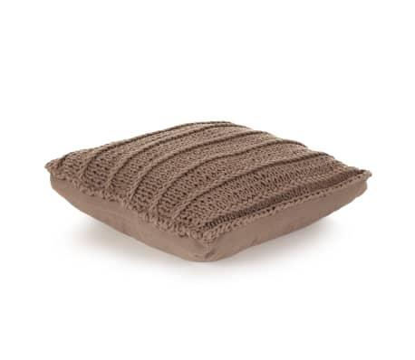 vidaXL Čtvercový pletený bavlněný polštář na podlahu 60 x 60 cm hnědý