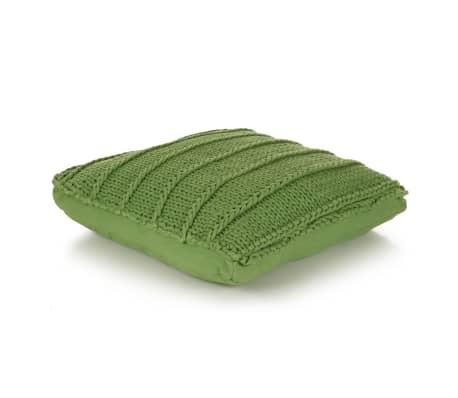 vidaXL Čtvercový pletený bavlněný polštář na podlahu 60 x 60 cm zelený