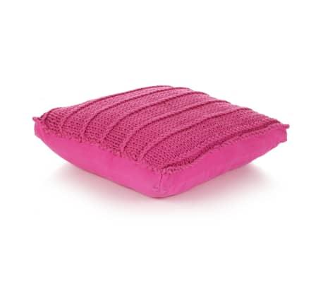 vidaXL Cojín cuadrado de suelo algodón tejido 60x60 cm rosa[1/4]