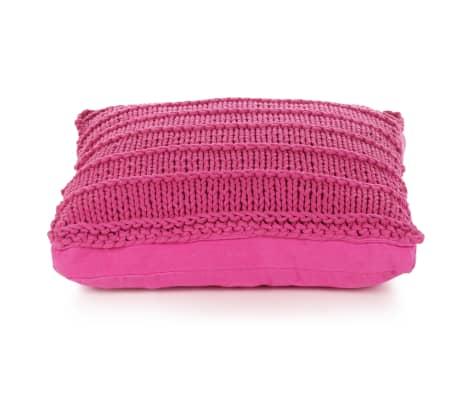 vidaXL Cojín cuadrado de suelo algodón tejido 60x60 cm rosa[2/4]