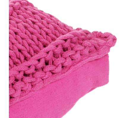 vidaXL Cojín cuadrado de suelo algodón tejido 60x60 cm rosa[4/4]