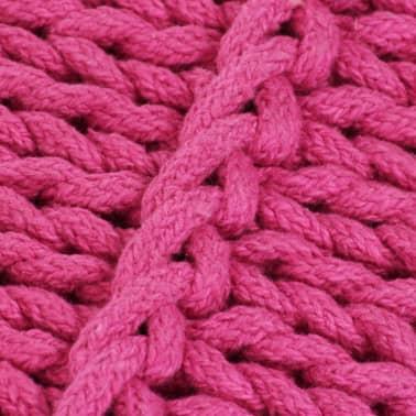 vidaXL Cojín cuadrado de suelo algodón tejido 60x60 cm rosa[3/4]