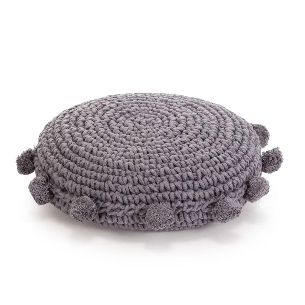 vidaXL Pletený kulatý polštář na podlahu bavlněný 45 cm šedý