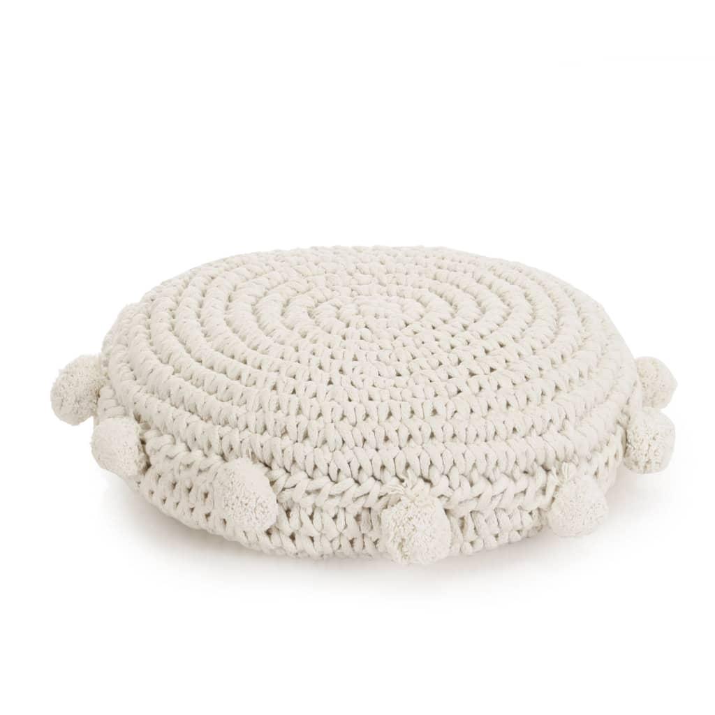 vidaXL Pletený kulatý polštář na podlahu bavlněný 45 cm bílý