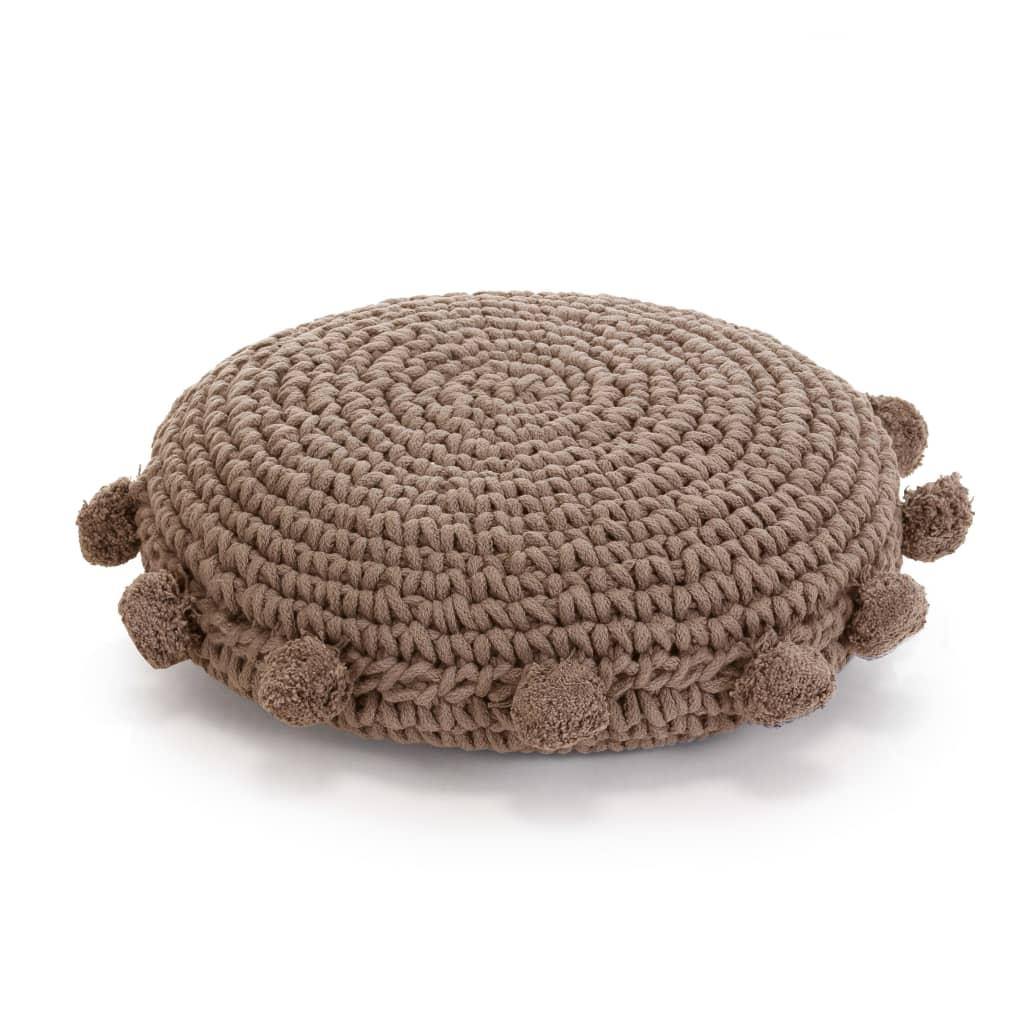 vidaXL Pletený kulatý polštář na podlahu bavlněný 45 cm hnědý