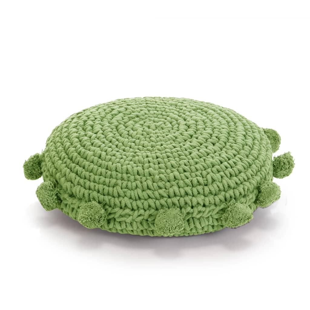 vidaXL Pernă pardoseală rotundă tricotată, bumbac 45 cm, verde poza vidaxl.ro