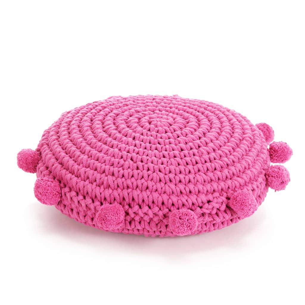 vidaXL Pletený kulatý polštář na podlahu bavlněný 45 cm růžový