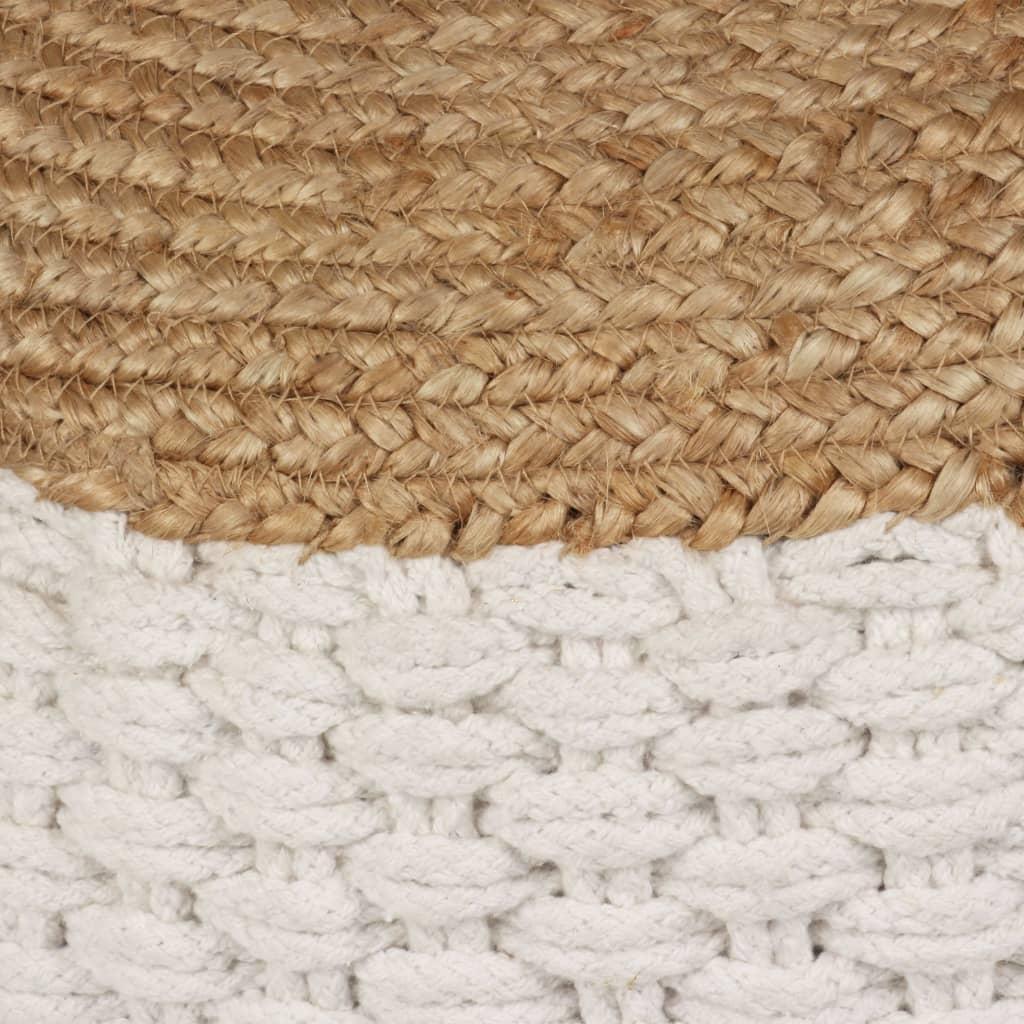 Poef geweven/gebreid 50x35 cm jute katoen wit