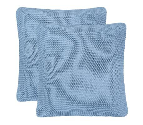 vidaXL Cojines de punto grueso 2 unidades 45x45 cm azul claro