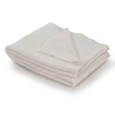 vidaXL Stickad filt bomull 130x171 cm naturvit[1/4]