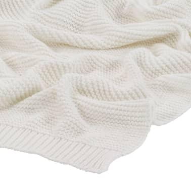 vidaXL Stickad filt bomull 130x171 cm naturvit[3/4]