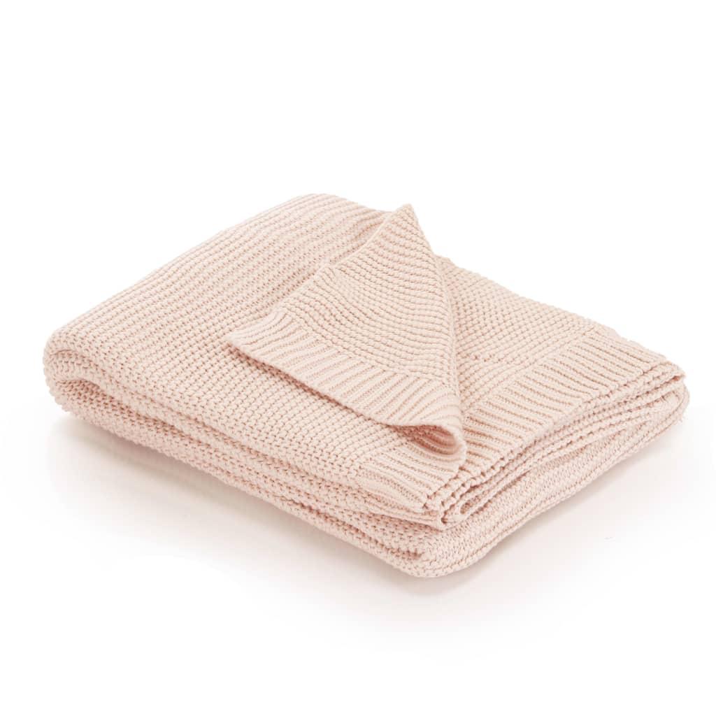Pletený bavlněný přehoz 130 x 171 cm růžový
