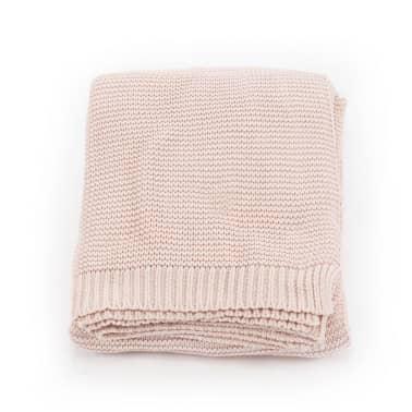 vidaXL Stickad filt bomull 130x171 cm rosa[2/4]