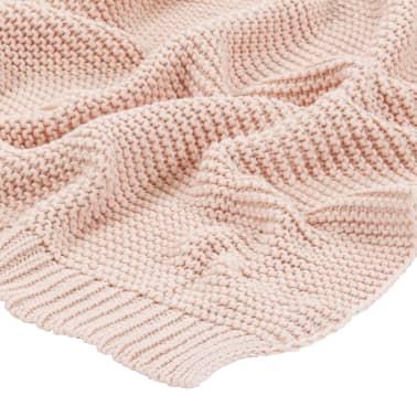 vidaXL Stickad filt bomull 130x171 cm rosa[3/4]