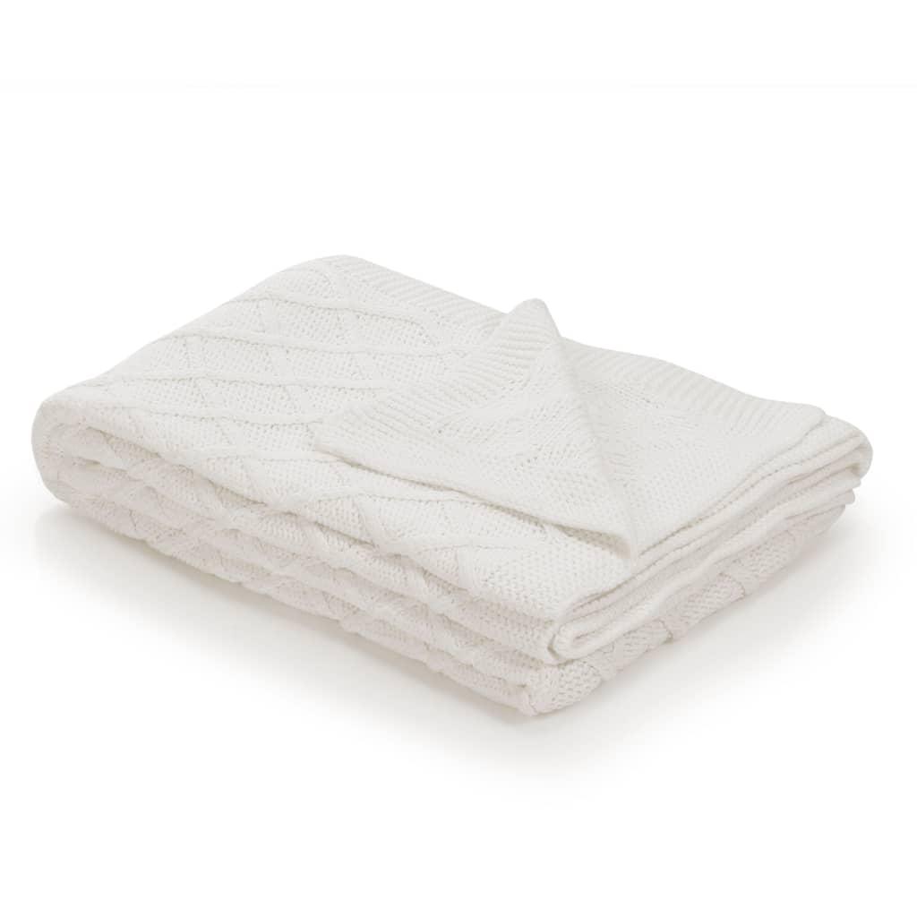 vidaXL Pletená bavlněná deka 130 x 171 cm krémově bílá se vzorem