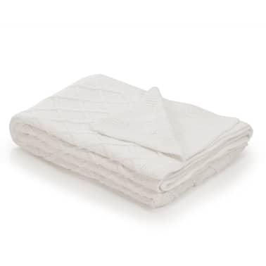 vidaXL Stickad filt bomull 130x171 cm pläddesign naturvit[1/4]
