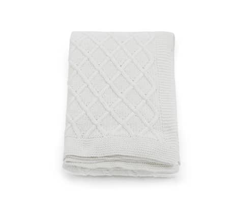 vidaXL Stickad filt bomull 130x171 cm pläddesign naturvit[2/4]