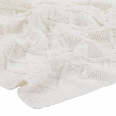 vidaXL Stickad filt bomull 130x171 cm pläddesign naturvit[3/4]