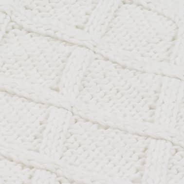 vidaXL Stickad filt bomull 130x171 cm pläddesign naturvit[4/4]