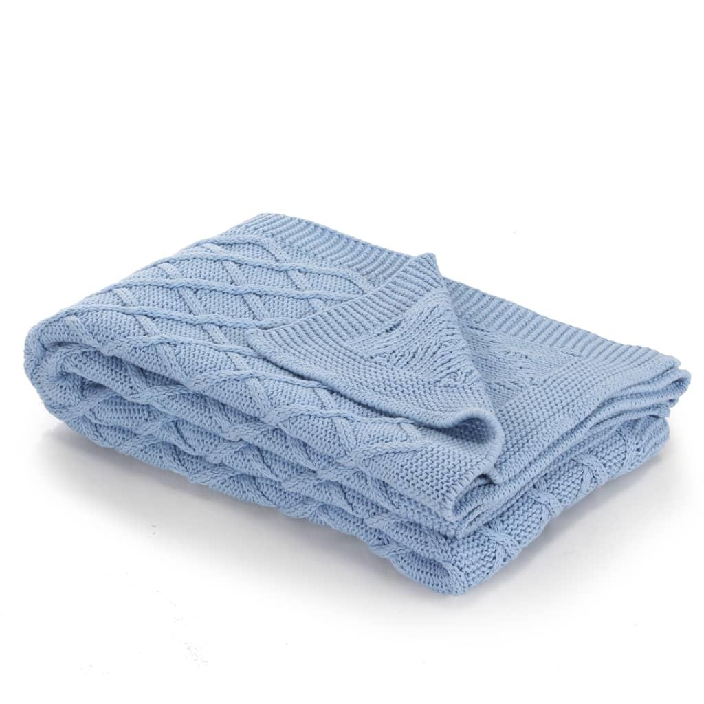 vidaXL Pletená bavlněná deka 130 x 171 cm modrá se vzorem