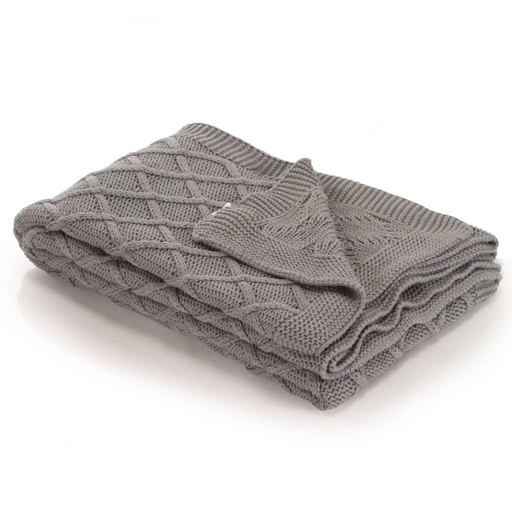 vidaXL Pletená bavlněná deka 130 x 171 cm šedá se vzorem