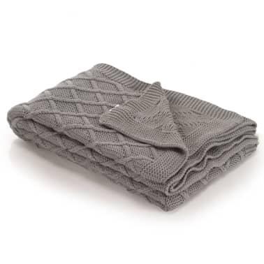 vidaXL Stickad filt bomull 130x171 cm pläddesign grå[1/4]