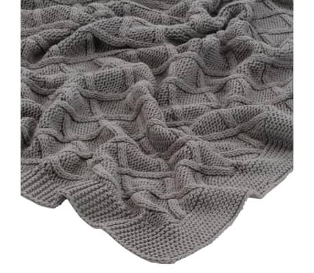 vidaXL Stickad filt bomull 130x171 cm pläddesign grå[3/4]
