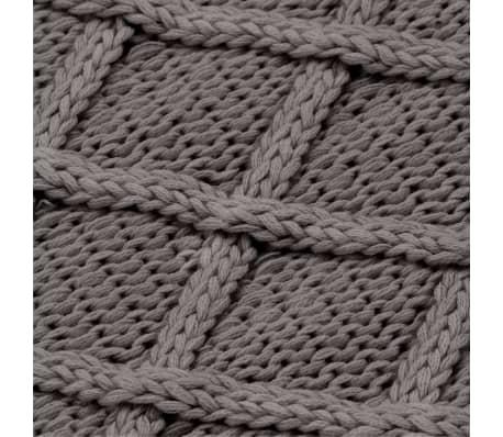 vidaXL Stickad filt bomull 130x171 cm pläddesign grå[4/4]