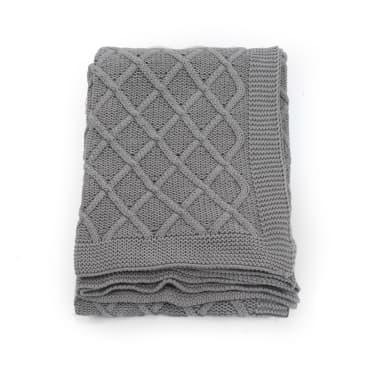 vidaXL Stickad filt bomull 130x171 cm pläddesign grå[2/4]