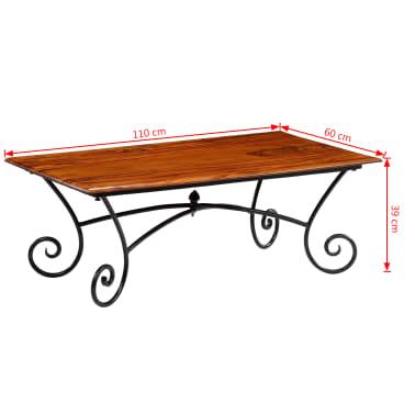 vidaXL Kavos staliukas su lenkt. kojomis, raus. dalb. med, 110x60x39cm[13/13]