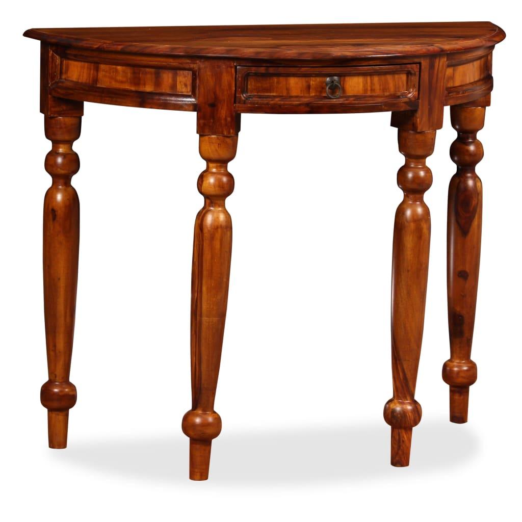 vidaXL Konzolový stolek, masivní sheesham, 90 x 40 x 76 cm, polokulatý